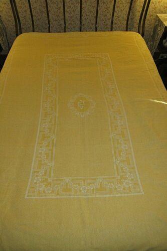 "ANTIQUE EUROPEAN COTTON/LINEN DAMASK BED COVERLET/REVERSIBLE YELLOW,68"" X 78"""