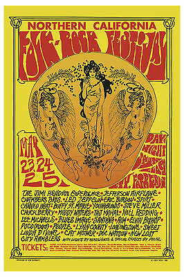 Jimi Hendrix & Led Zeppelin at Folk-Rock Festival  Concert Poster   13x19