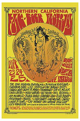 1960's Rock: Jimi Hendrix & Led Zeppelin at Folk-Rock Festival  Concert Poster