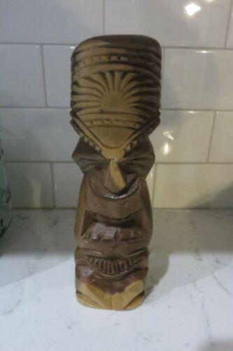 """Vintage Carved Wood Hawaiian Tiki Totem Pole Figurine Statue 9"""" Sculpture Hawaii"""