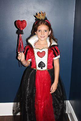 Rot Königin der Herzen Alice Wunderland Mädchen Halloween Kinder Kostüm - Kind Wunderland Königin Kostüm