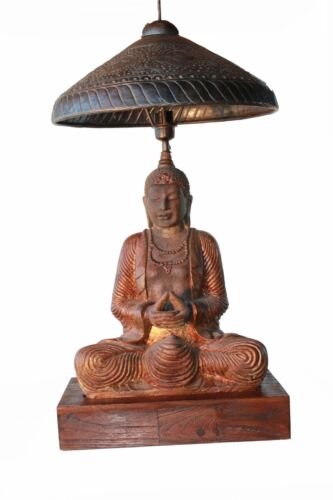 Buddha Lamp with brass Pierced Shade height 28 inches estimate high