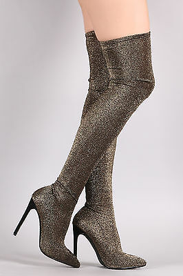 Thigh High Over Knee Glitter Knit Stretchy Pointy Toe Boots - Gold  - Size 6 - Pointy Toe Knee High Boots