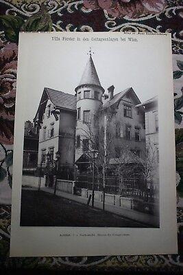 1886 9 Wien Cottageviertel Villa Förster Währing Architekt Borkowski