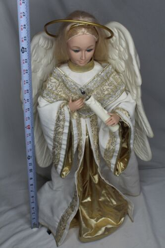 """HOLIDAY CREATIONS ANIMATED ANGEL W CASSETTE PLAYER CHRISTMAS 26"""" Tested"""