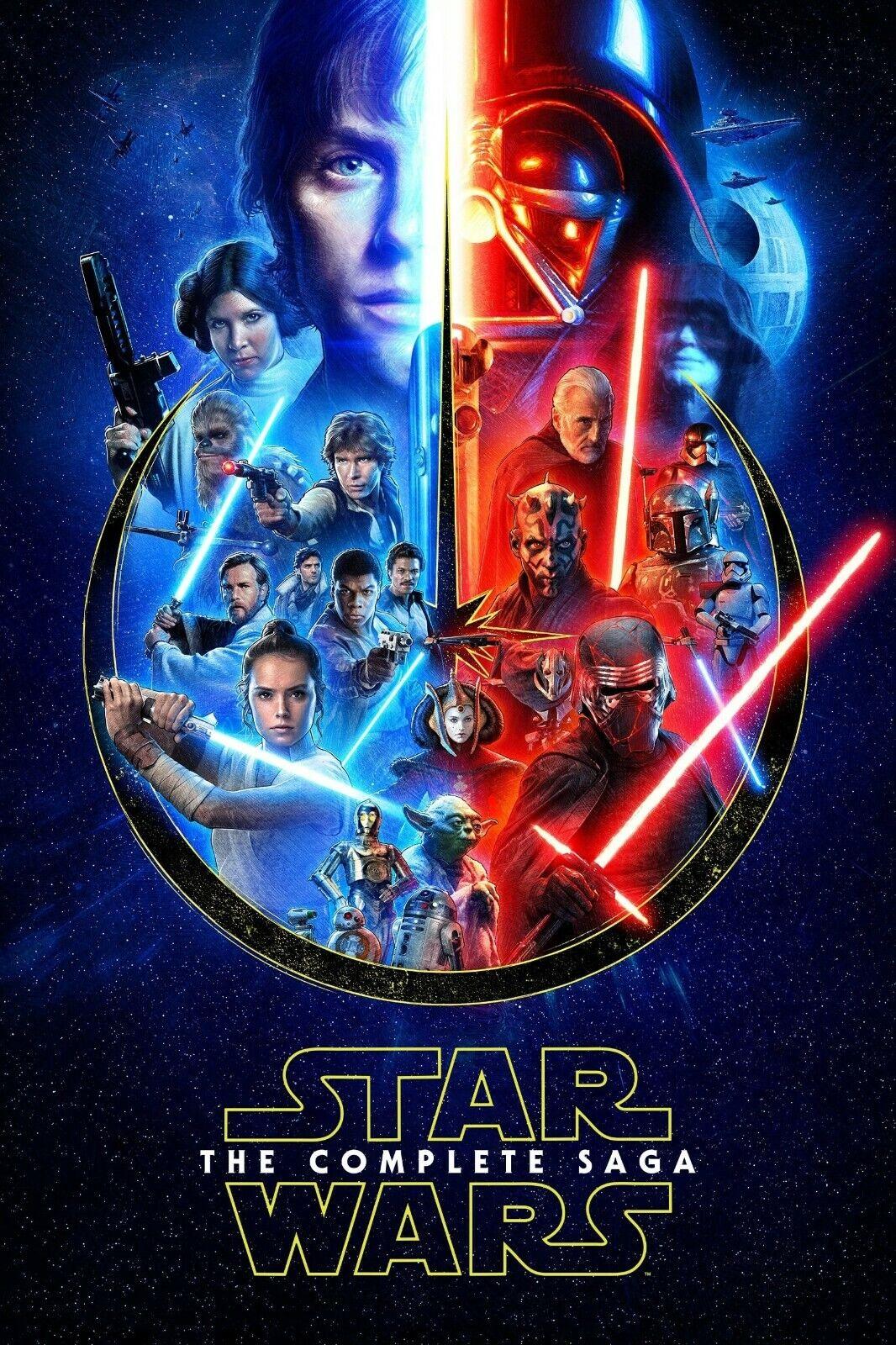 Star Wars: The Complete Saga Movie Poster Wall Art - NEW - 11x17 13x19