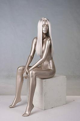 """Schaufensterpuppe Mannequin Schaufensterfigur Dame Frau weiblich """"gold"""" metallic"""