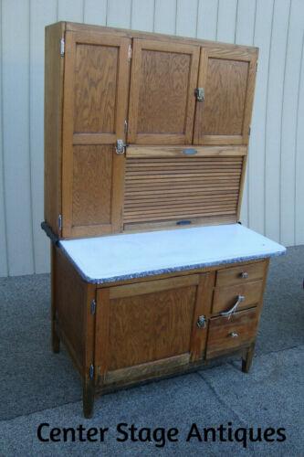 60118 Antique Sellers Oak Hooosier Cabinet Kitchen Cupboard