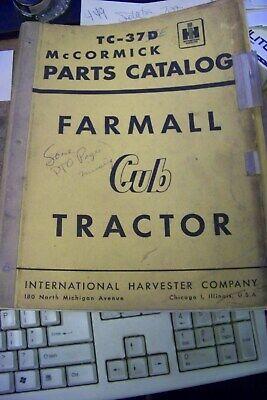 International Harvester Tc-37e Parts Catalog Farmall Cub Tractor