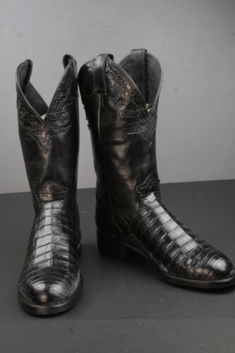 Mens, Justin, Black, Caiman, Leather, Cowboy, Boots, Size, 8.5, D, Crocodile, Exotic