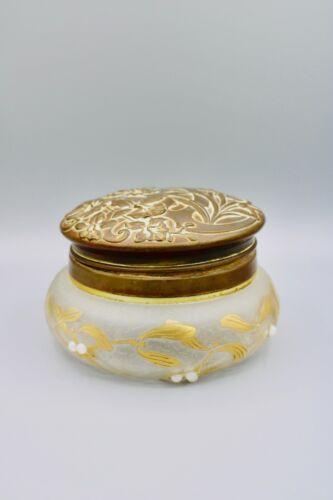 Antique Vintage Vanity Dresser Powder Jar Art Nouveau Repousse Brass Lid Patina