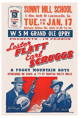 Foggy Mountain Boys: Lester Flatt & Earl Scruggs Concert Poster 1956