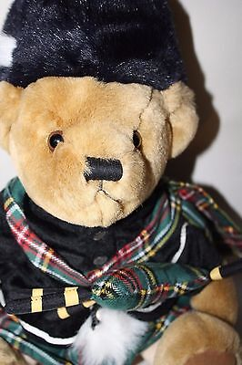 Harrods Teddy Bear Scottish Piper BAGPIPES Kilt Plaid Plush Stuffed Toy 11""