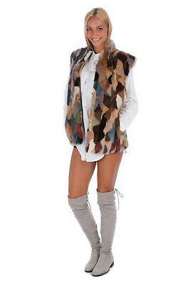 Multicolour Mink Fur Vest Real Fashion Style Luxury 42 - 44 МЕ