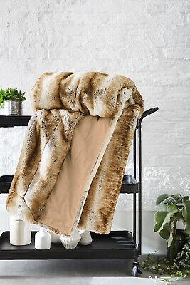 Beige Ibena BUGATTI Faux Fur Luxuriously Soft Thick & Heavy Throw / Blanket