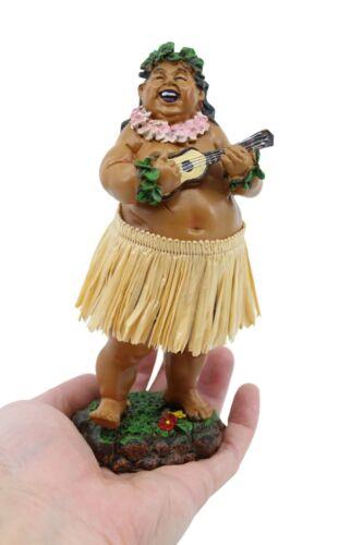"""Hawaiian Hula Man with Ukulele Dashboard Doll - 7"""" Car Doll Souvenir, Natural"""