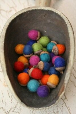 Little Mini Acorns Felted Wool Bowl Fillers , Ornaments multi-colored 30 pieces
