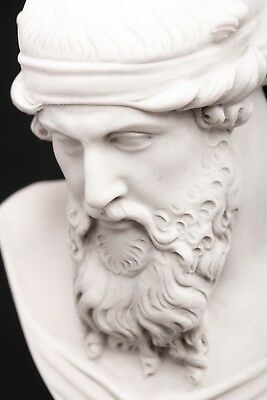 Marble Bust of Greek Philosopher Plato on a large base, Classical Sculpture. Art