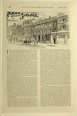 1898 PRINT NAVY & ARMY ARTICLE BRITISH EMPIRE ARMY FINANCE WAR OFFICER PALL (Mall Empire)