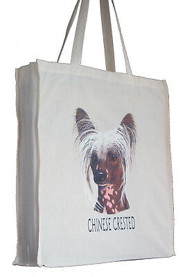 Chinese Crested Breed of Dog H Shopping Tote Bag Long Handles Perfect Gift