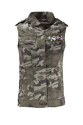 NEW Women Camo Vest Rhinestones Chest Pockets Button Up Sleeveless Sizes XS-XL ()