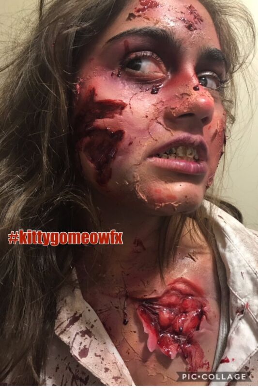Zombie Bite and Gash with Ripped Torn Flesh Cheek Halloween silicone Prosthetic