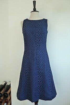 ISSA London Cotton Lace Shift Dress ~ Navy Blue Size UK 8 / US 4
