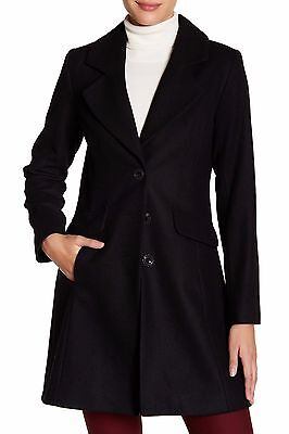 NWT $260 CeCe by Cynthia Steffe AVA A-Line Three Button Wool Coat Black Size 8