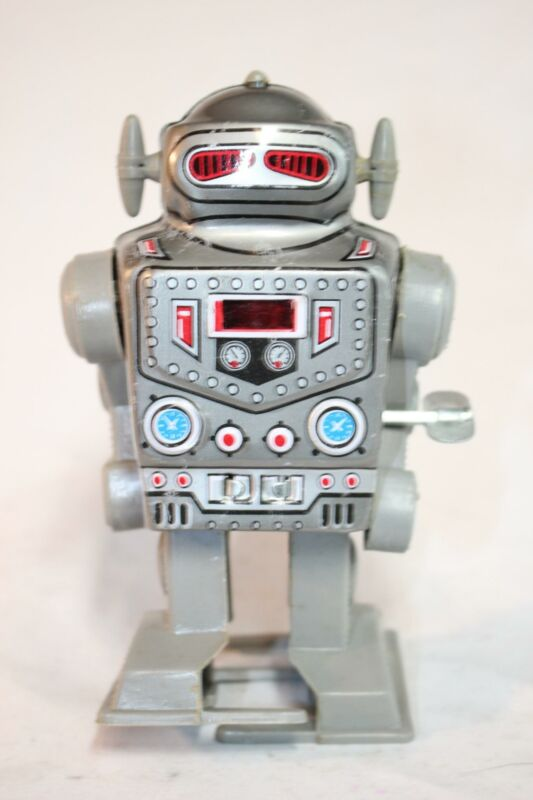 Vintage Korea MTU Wind Up Space Robot Tin Litho Toy #2