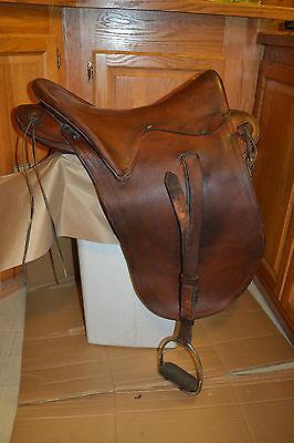 Antique Vtg Colonel R.E. WHITMAN Co. Leather Western Saddle Stirrups Cincy Ohio