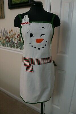 Apron Christmas Holiday Snowman Embroidered Appliqué Winter Cooking White Cotton