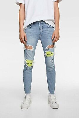 Zara Man Mens Skinny Denim Jeans EU 42 US 32 Neon Patches Ripped Faded NWT