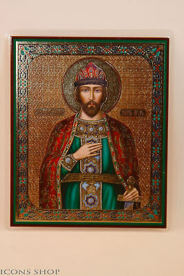 holy prince igor christian laminated icon 10x12cm святой благоверный князь игорь