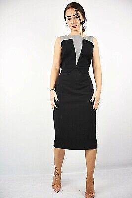 WOMEN EX DESIGNER BLACK WITH CONTRAST OCCASION PENCIL MIDI DRESS SIZE10 RRP £190