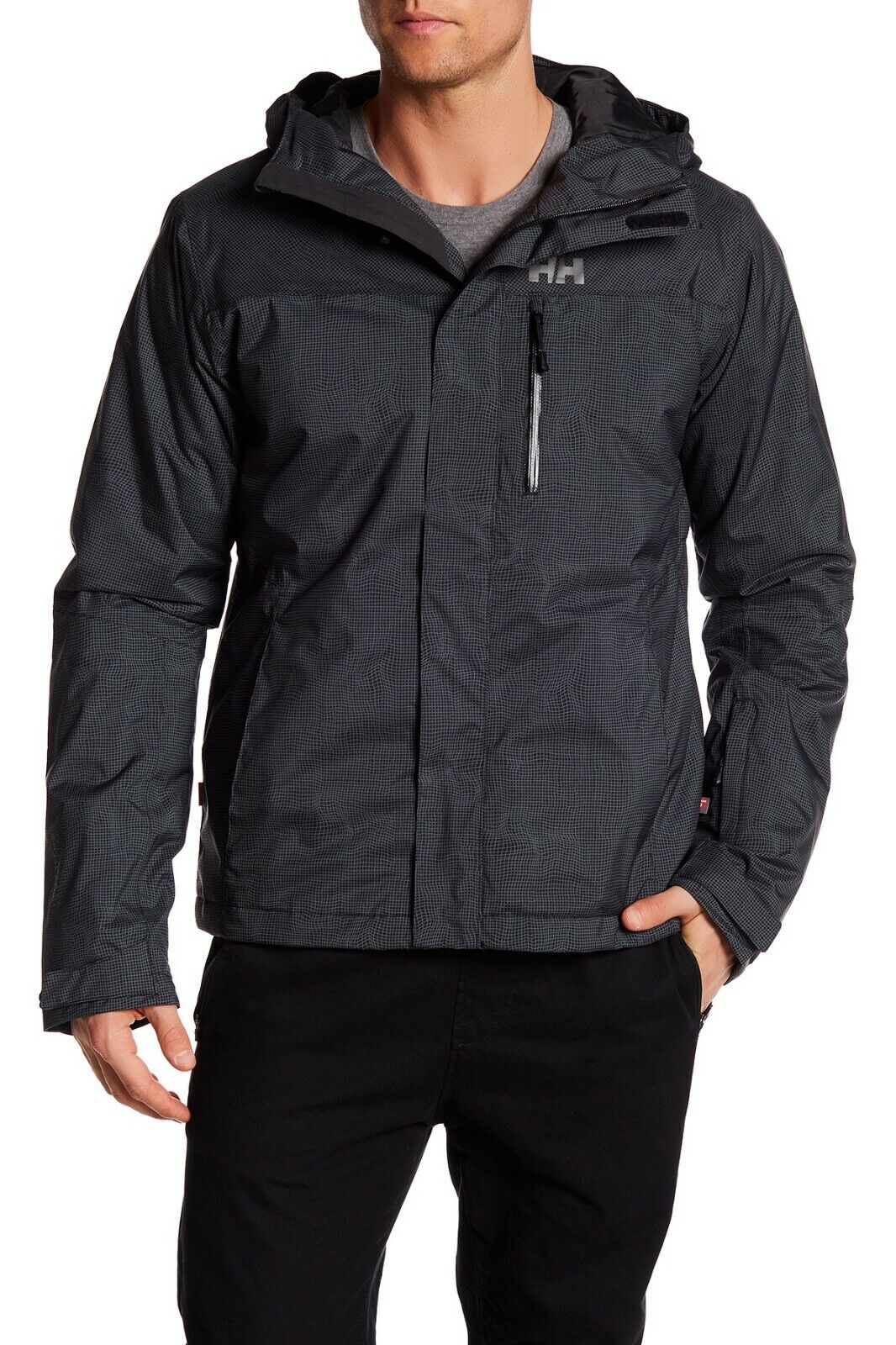 Helly Hansen Men's Vertigo Ski Jacket Insulated Hooded – Black Check L Clothing