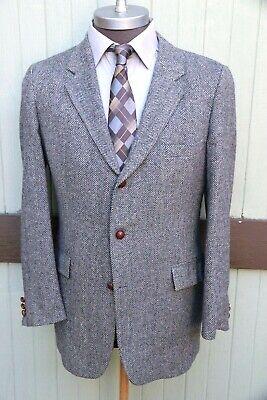 Harris Tweed 100% Scottish Wool Gray Herringbone Three Leather Button Blazer 44R