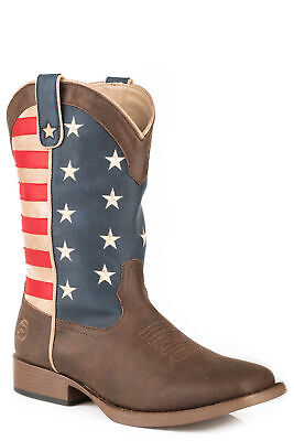 Roper American Patriot Womens Red/Blue Faux Leather Flag Cowboy Boots