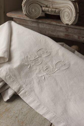 Antique French Sheet trousseau 74X98 LP monogram linen cotton mix fabric