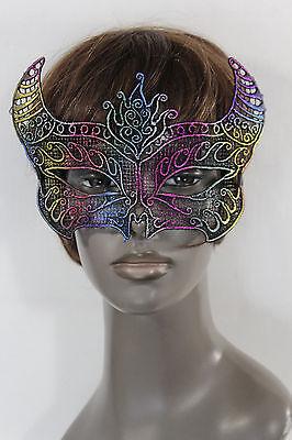 Women Men Half Face Eye Costume Mask Black fabric Bull Devil Horns Net Halloween (Halloween Costume Bull Horns)