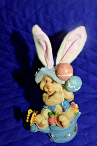 """Estate Easter Decor 5"""" Tall  Resin Bunny with Balloons on top of Watering Can"""