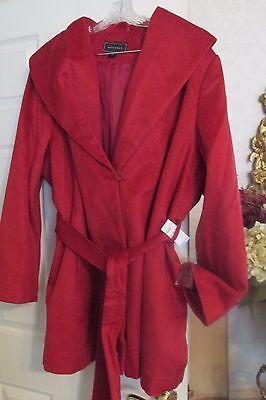 NEW NWT $140 Womens Metaphor Wrap Coat Belted Dress Coat Red Plus Sz 3X ()