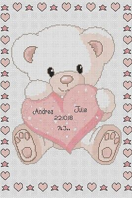 Birth Sampler Baby Bear w/ Heart Pink Counted Cross Stitch COMPLETE KIT (Heart Birth Sampler)