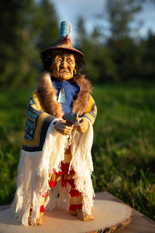 Shona-Hah Lelooska Native American Hand Carved Doll 1930-1970 Chilkat Chieftain