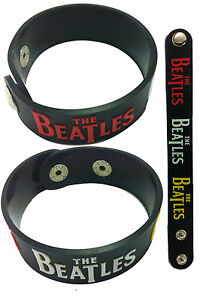THE-BEATLES-NEW-Rubber-Bracelet-Wristband-Lennon-McCartney-Harrison-Starr
