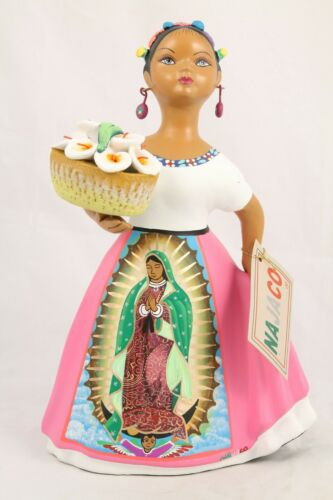 Lupita NAJACO Clay Figurine Mexican Our Lady Guadalupe Espanola Lilies Pink