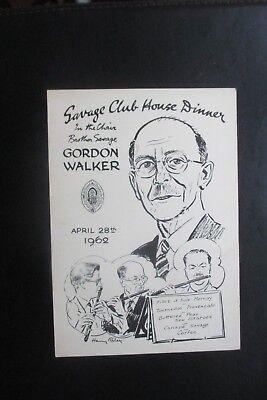 1962 THE SAVAGE CLUB MENU CARD HARRY RILEY CARTOON CARICATURE GORDON WALKER