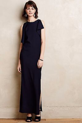 New Anthropologie Flutter Sleeve Navy Crepe Shift Maxi Dress Gown Cocktail XS 2
