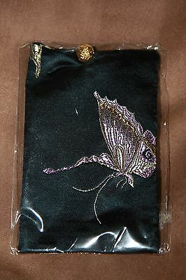Chinese gold silk butterflies mobile phone holder pouch