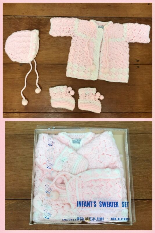 Vintage Baby SWEATER BOOTIES BONNET Set Acrylic Pink Glo Knit 0 - 6 month 1950s