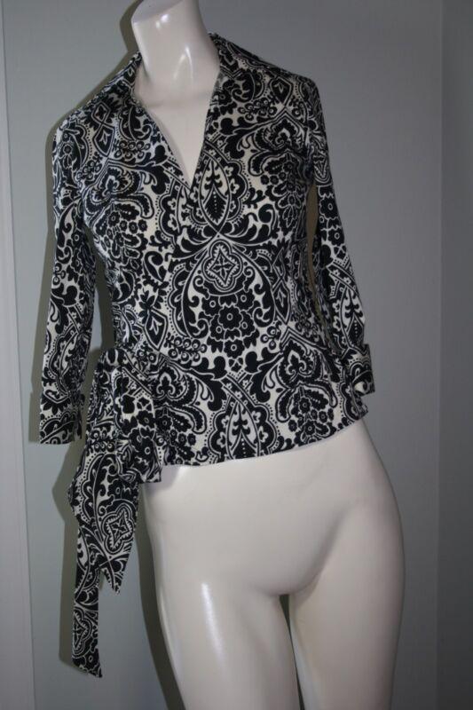 Ann Taylor Black/White Floral Print 3/4 Sleeve Wrap Shirt - Size 0 Petite